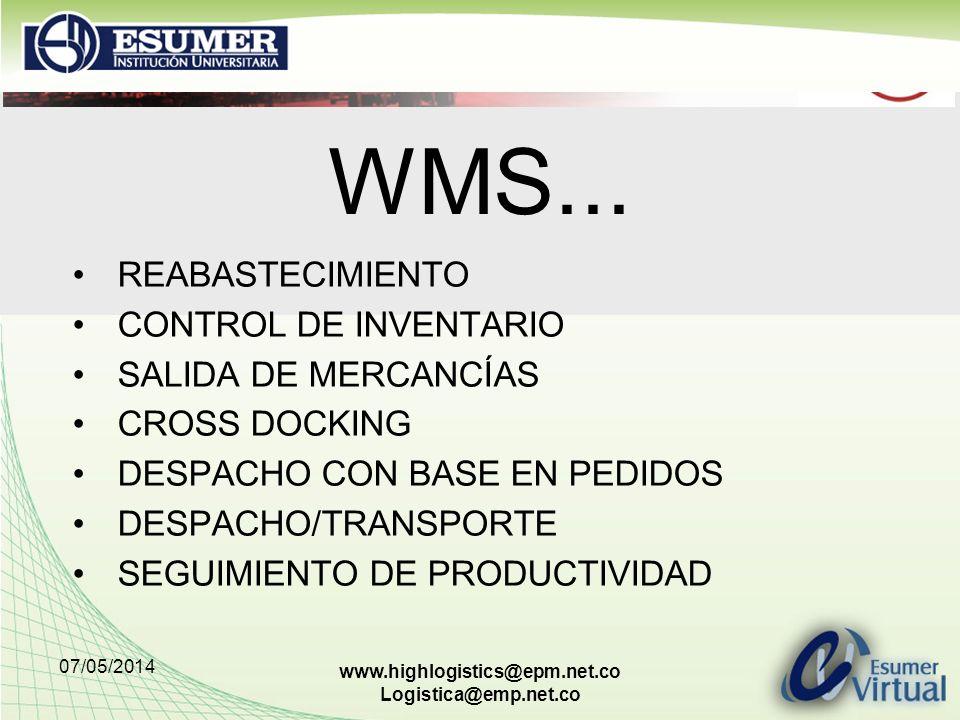 WMS... REABASTECIMIENTO CONTROL DE INVENTARIO SALIDA DE MERCANCÍAS