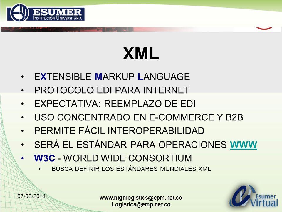 XML EXTENSIBLE MARKUP LANGUAGE PROTOCOLO EDI PARA INTERNET