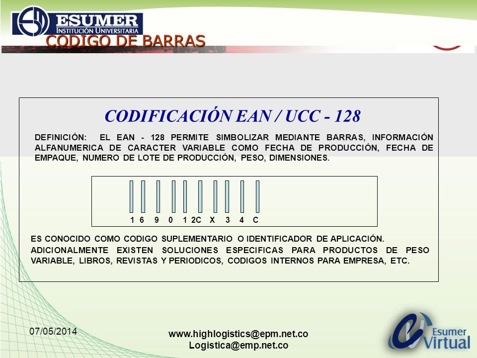 CODIFICACIÓN EAN / UCC - 128