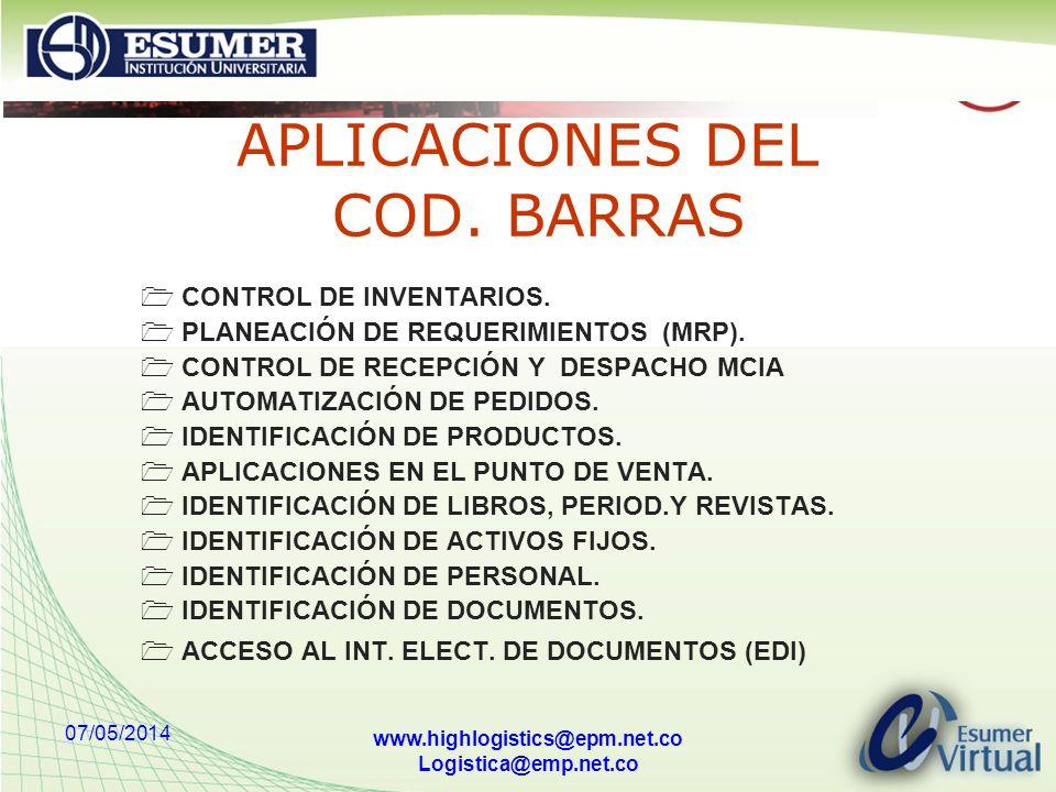 APLICACIONES DEL COD. BARRAS