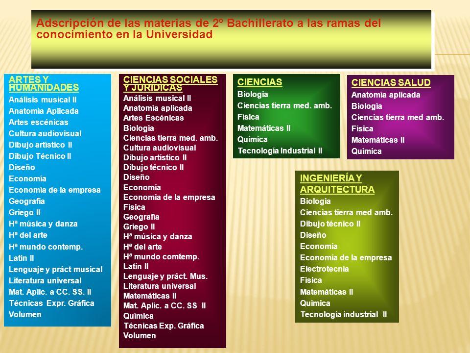 Adscripción de las materias de 2º Bachillerato a las ramas del conocimiento en la Universidad