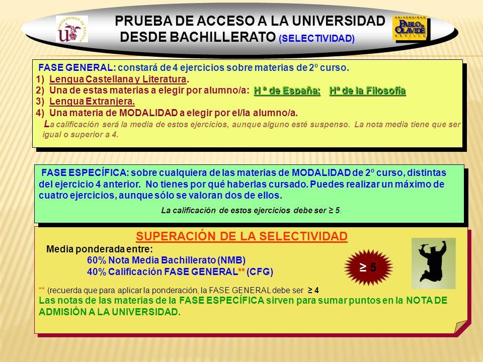 PRUEBA DE ACCESO A LA UNIVERSIDAD DESDE BACHILLERATO (SELECTIVIDAD)