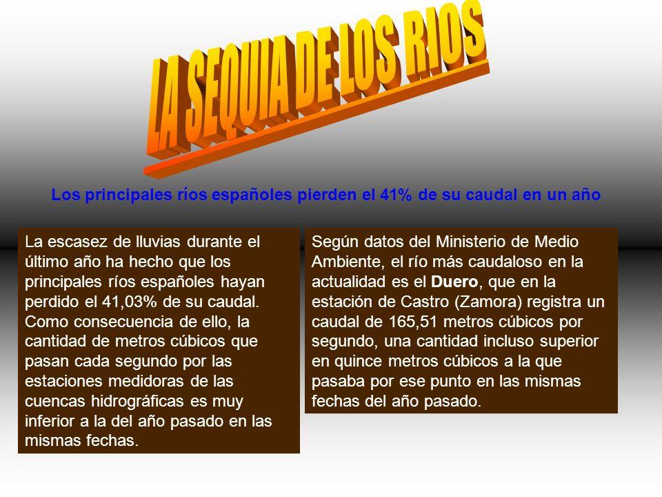 LA SEQUIA DE LOS RIOS Los principales ríos españoles pierden el 41% de su caudal en un año.