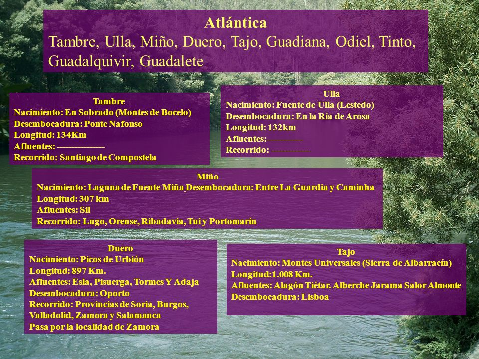 Atlántica Tambre, Ulla, Miño, Duero, Tajo, Guadiana, Odiel, Tinto, Guadalquivir, Guadalete. Ulla.