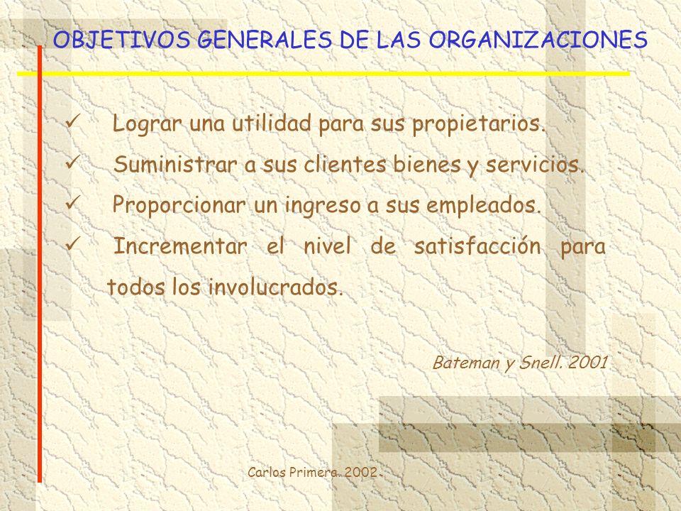 OBJETIVOS GENERALES DE LAS ORGANIZACIONES