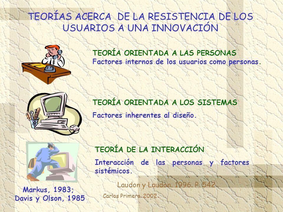 TEORÍAS ACERCA DE LA RESISTENCIA DE LOS USUARIOS A UNA INNOVACIÓN