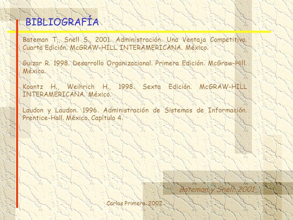 BIBLIOGRAFÍA Bateman y Snell. 2001