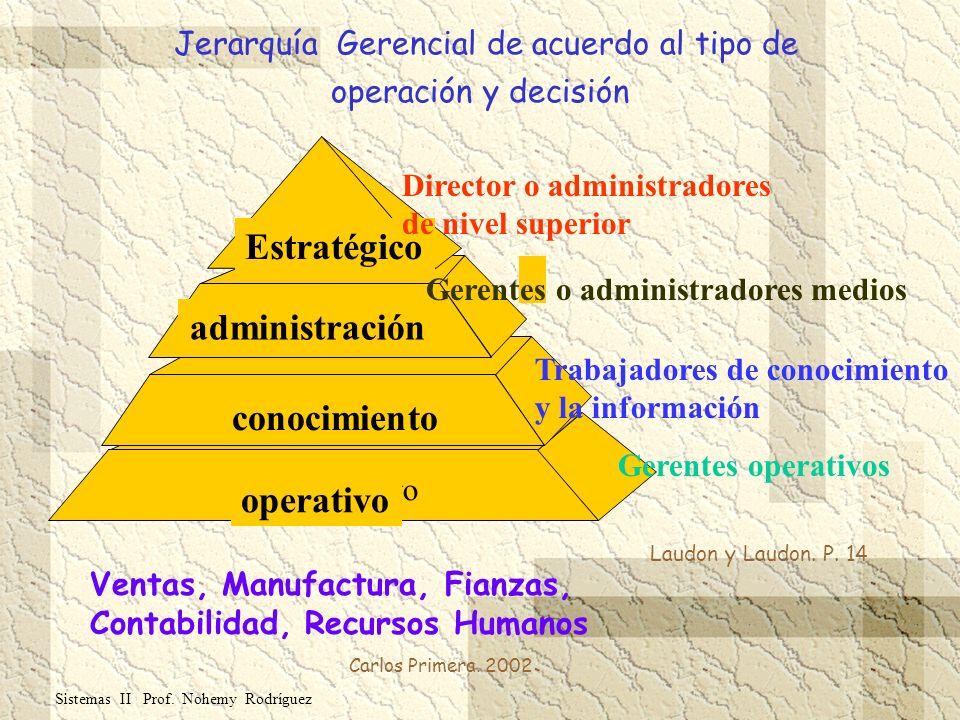 Jerarquía Gerencial de acuerdo al tipo de operación y decisión