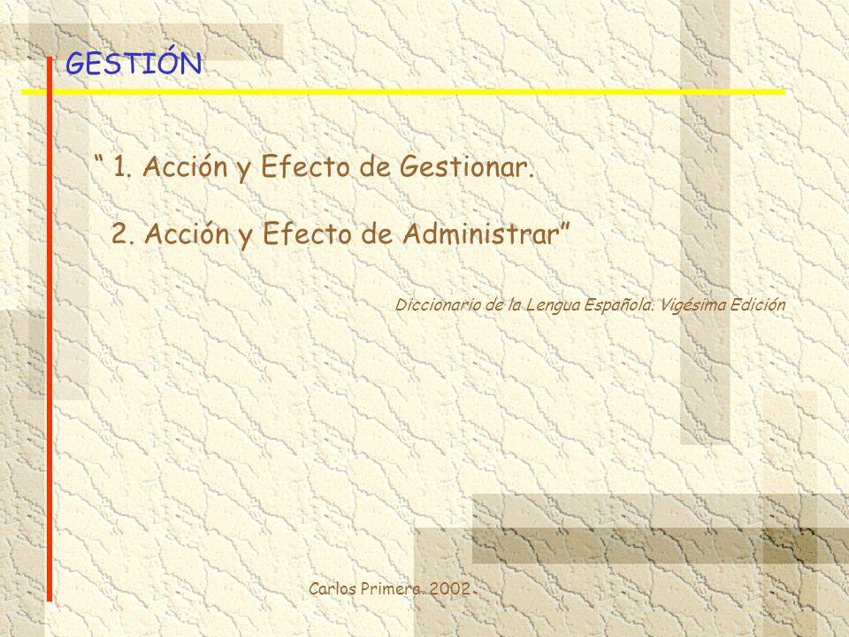 1. Acción y Efecto de Gestionar. 2. Acción y Efecto de Administrar