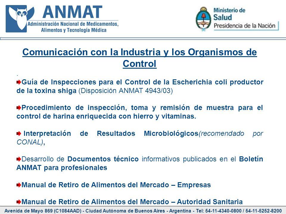 Comunicación con la Industria y los Organismos de Control
