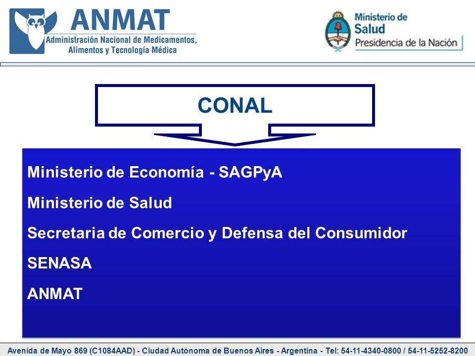 CONAL Ministerio de Economía - SAGPyA Ministerio de Salud