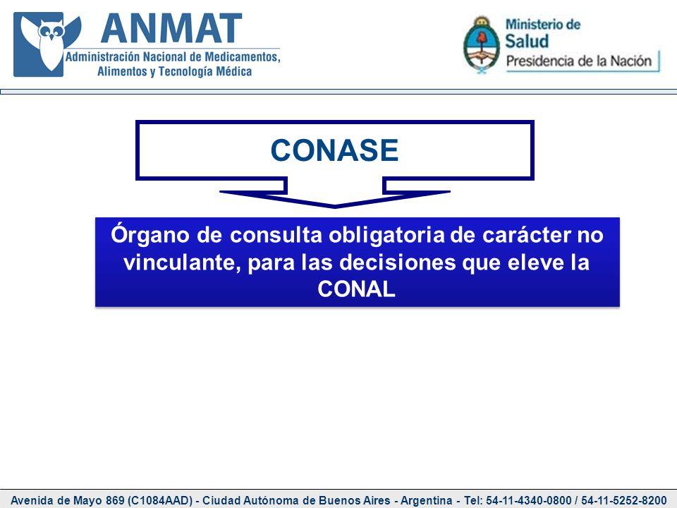 CONASE Órgano de consulta obligatoria de carácter no vinculante, para las decisiones que eleve la CONAL.