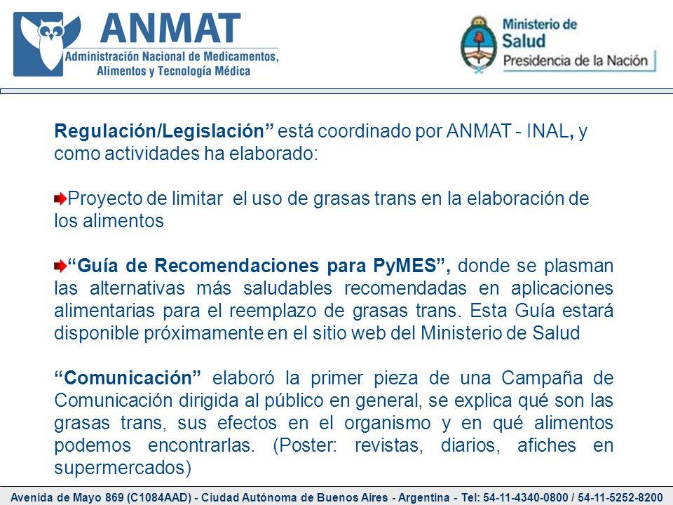 Regulación/Legislación está coordinado por ANMAT - INAL, y como actividades ha elaborado:
