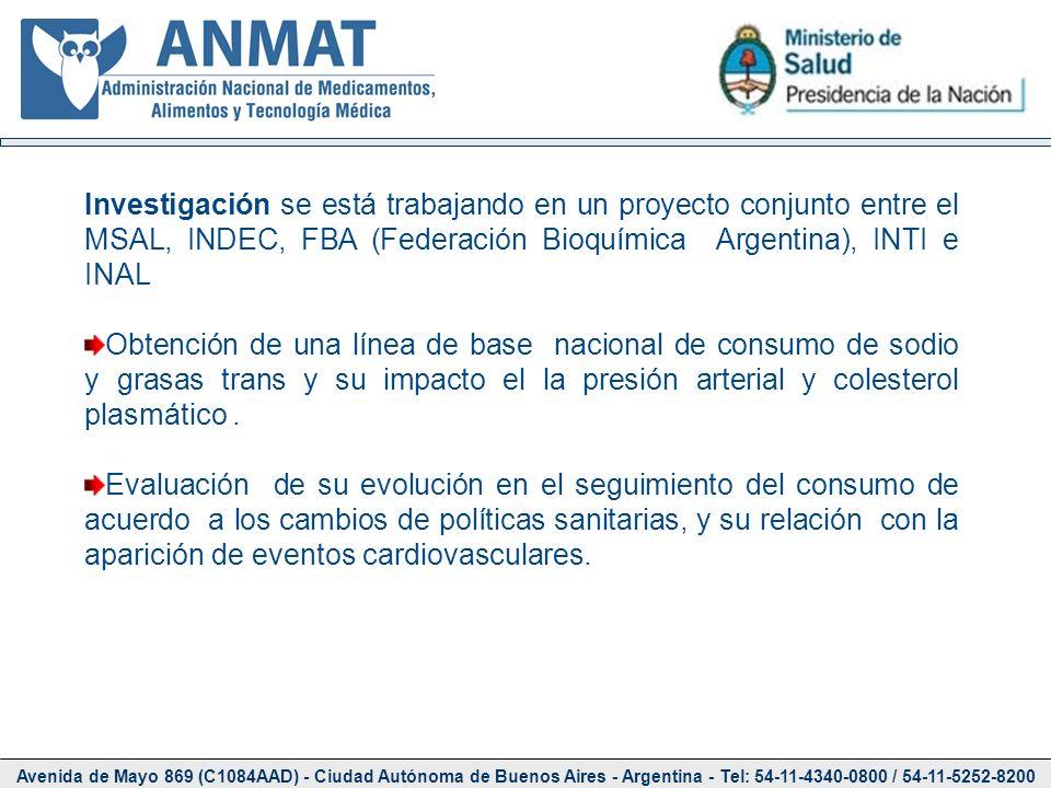 Investigación se está trabajando en un proyecto conjunto entre el MSAL, INDEC, FBA (Federación Bioquímica Argentina), INTI e INAL