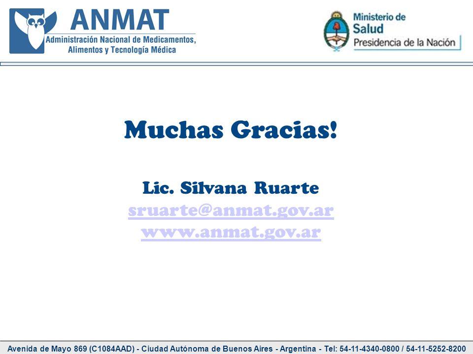 Muchas Gracias! Lic. Silvana Ruarte sruarte@anmat.gov.ar
