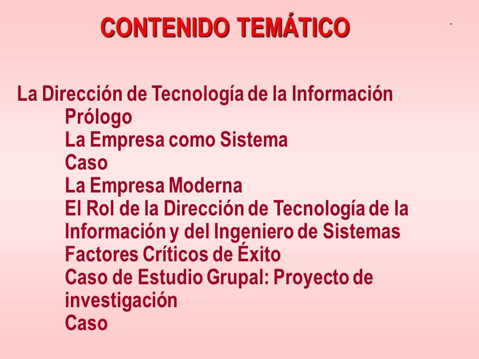CONTENIDO TEMÁTICO La Dirección de Tecnología de la Información Prólogo. La Empresa como Sistema.