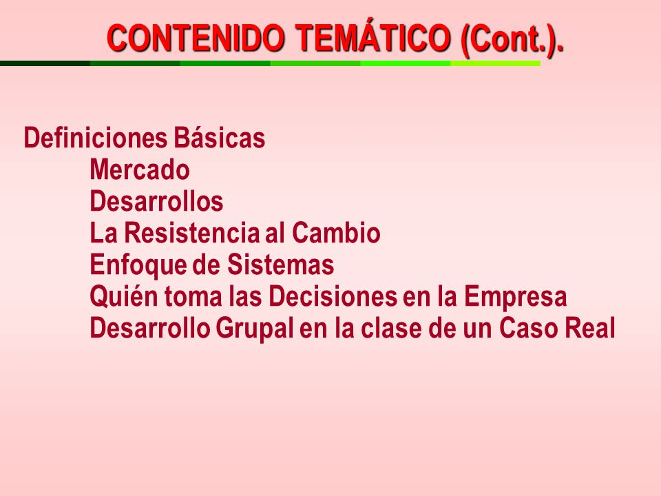 CONTENIDO TEMÁTICO (Cont.).