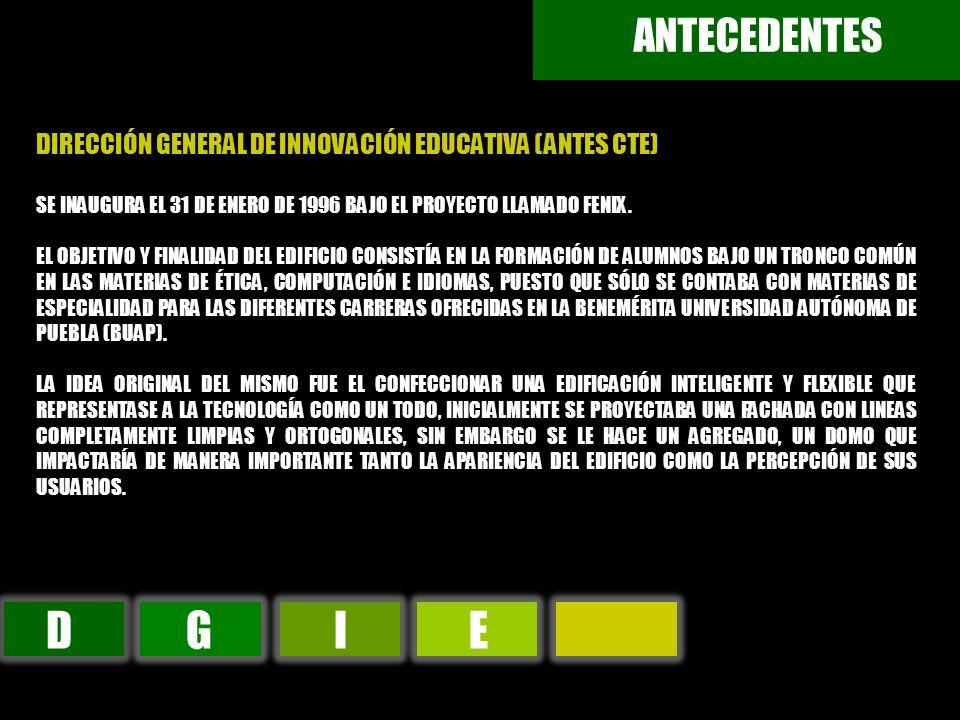 ANTECEDENTES DIRECCIÓN GENERAL DE INNOVACIÓN EDUCATIVA (ANTES CTE) SE INAUGURA EL 31 DE ENERO DE 1996 BAJO EL PROYECTO LLAMADO FENIX.
