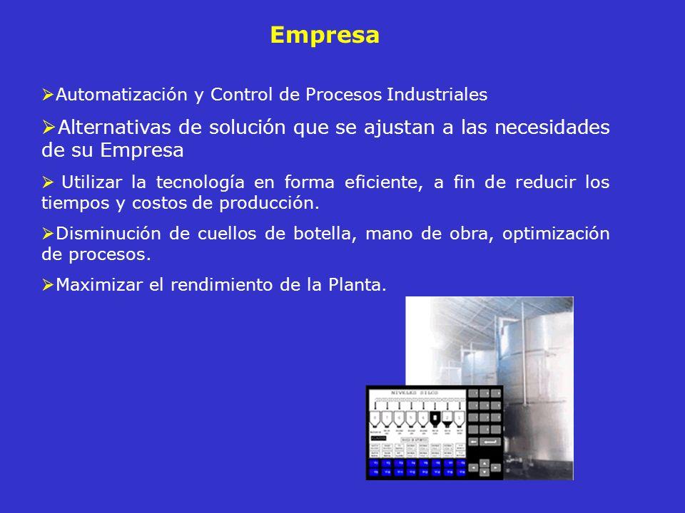 EmpresaAutomatización y Control de Procesos Industriales. Alternativas de solución que se ajustan a las necesidades de su Empresa.