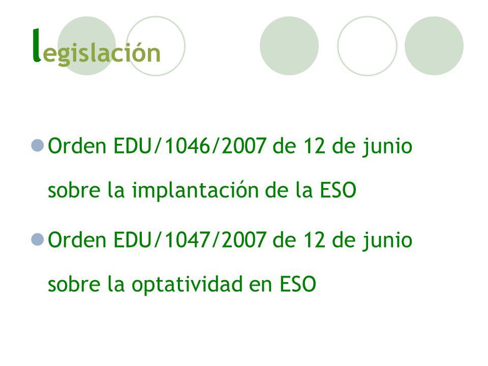 legislación Orden EDU/1046/2007 de 12 de junio sobre la implantación de la ESO.