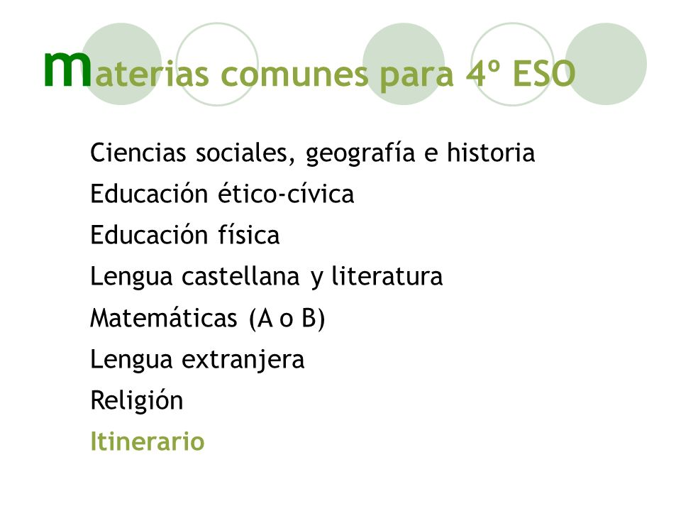 materias comunes para 4º ESO