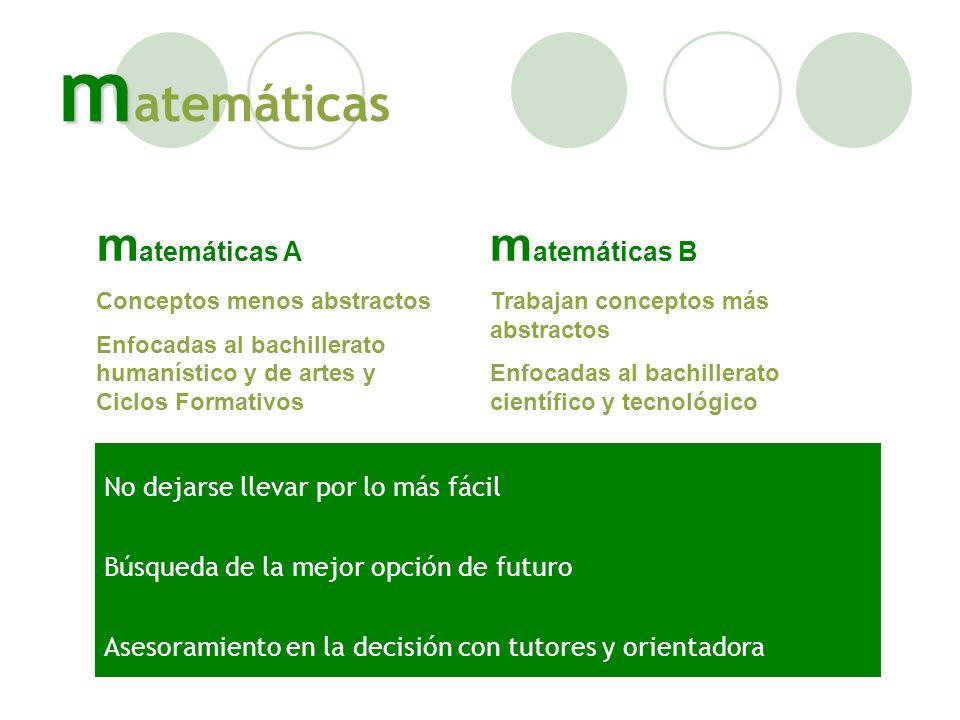 matemáticas matemáticas A matemáticas B