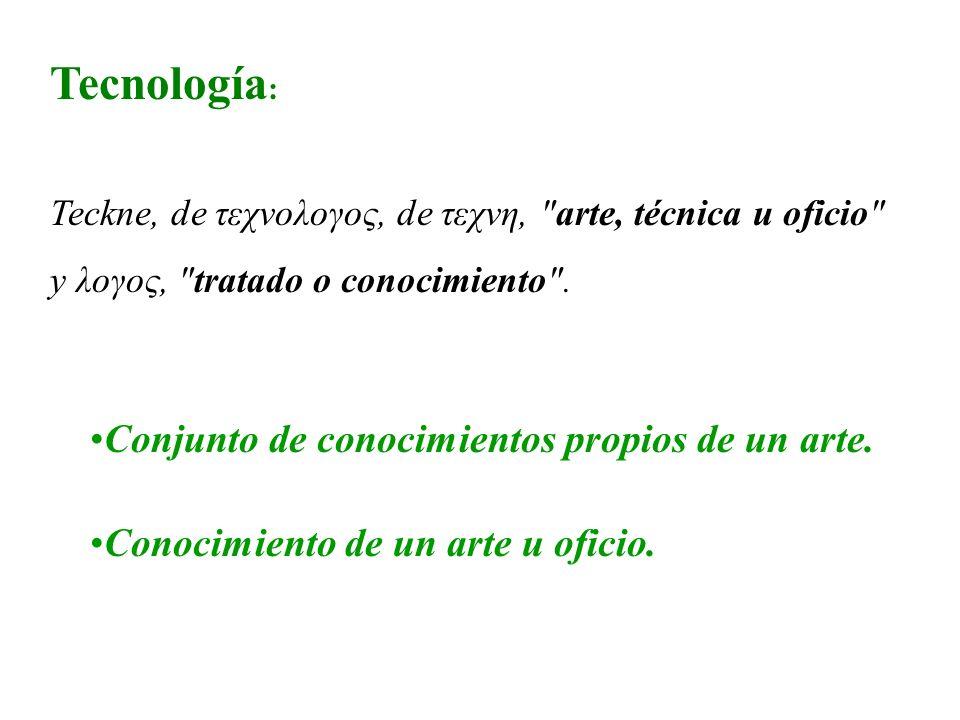 Tecnología: Conjunto de conocimientos propios de un arte.