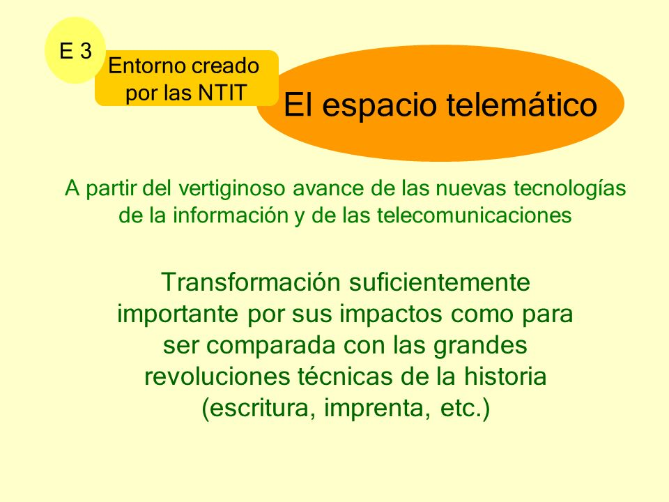 E 3 El espacio telemático. Entorno creado. por las NTIT.