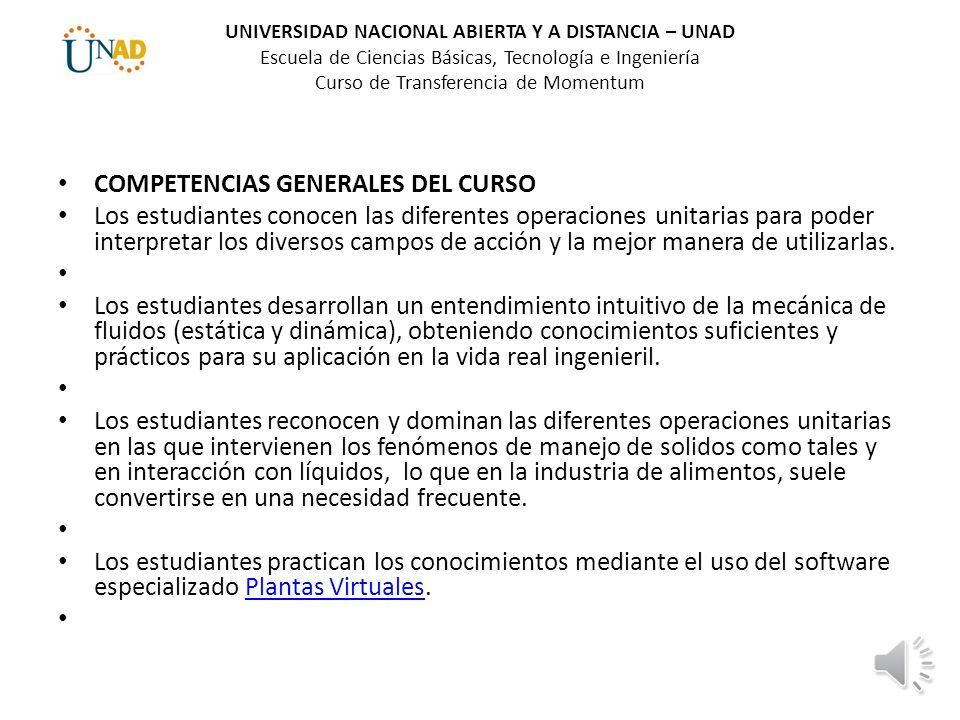 COMPETENCIAS GENERALES DEL CURSO