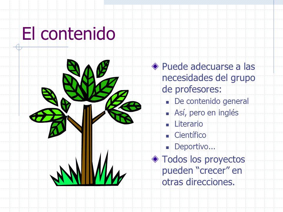 El contenidoPuede adecuarse a las necesidades del grupo de profesores: De contenido general. Así, pero en inglés.