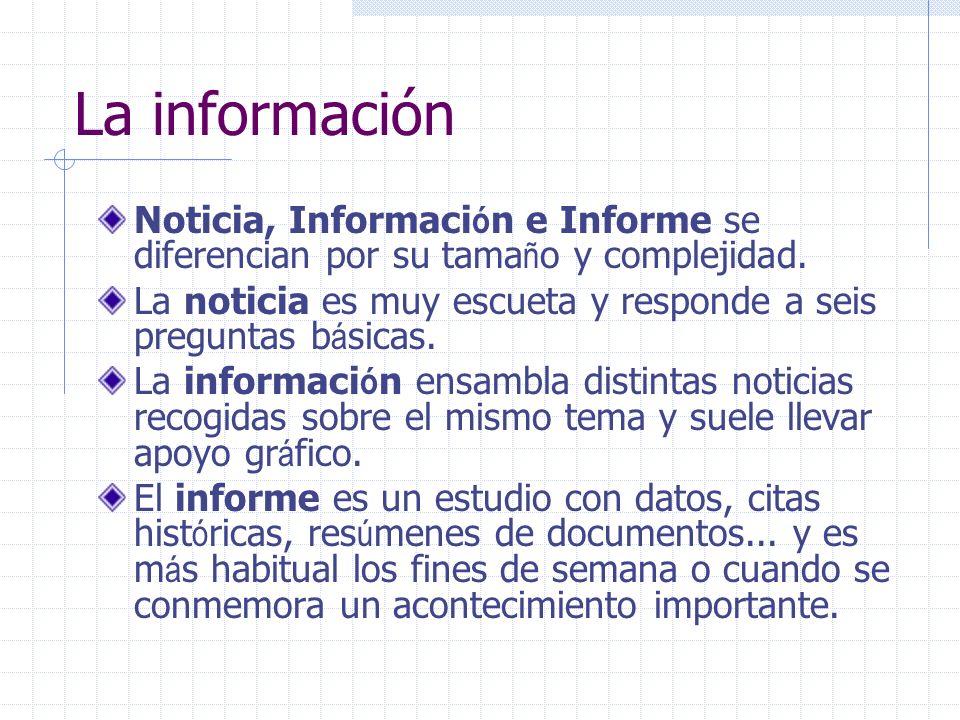La información Noticia, Información e Informe se diferencian por su tamaño y complejidad.