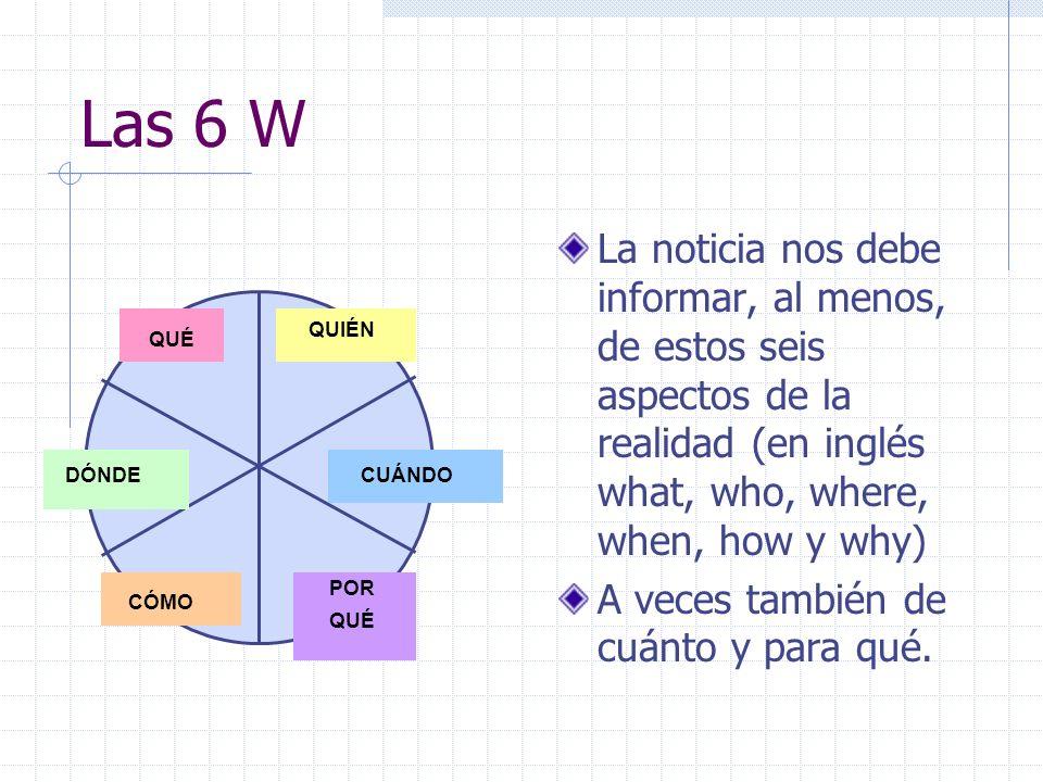 Las 6 WLa noticia nos debe informar, al menos, de estos seis aspectos de la realidad (en inglés what, who, where, when, how y why)