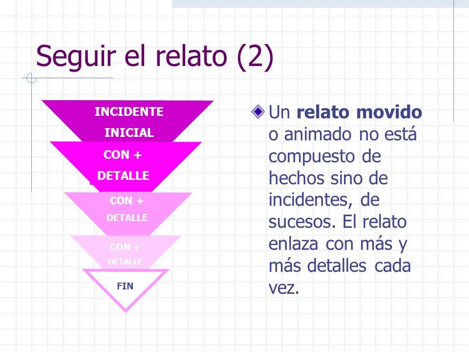 Seguir el relato (2) INCIDENTE. INICIAL. CON + DETALLE. FIN.