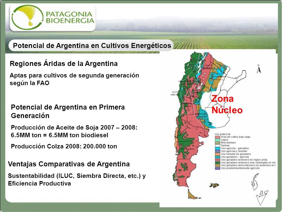 Zona Núcleo Potencial de Argentina en Cultivos Energéticos