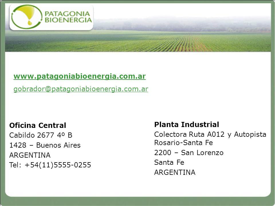 www.patagoniabioenergia.com.ar gobrador@patagoniabioenergia.com.ar. Oficina Central. Cabildo 2677 4º B.