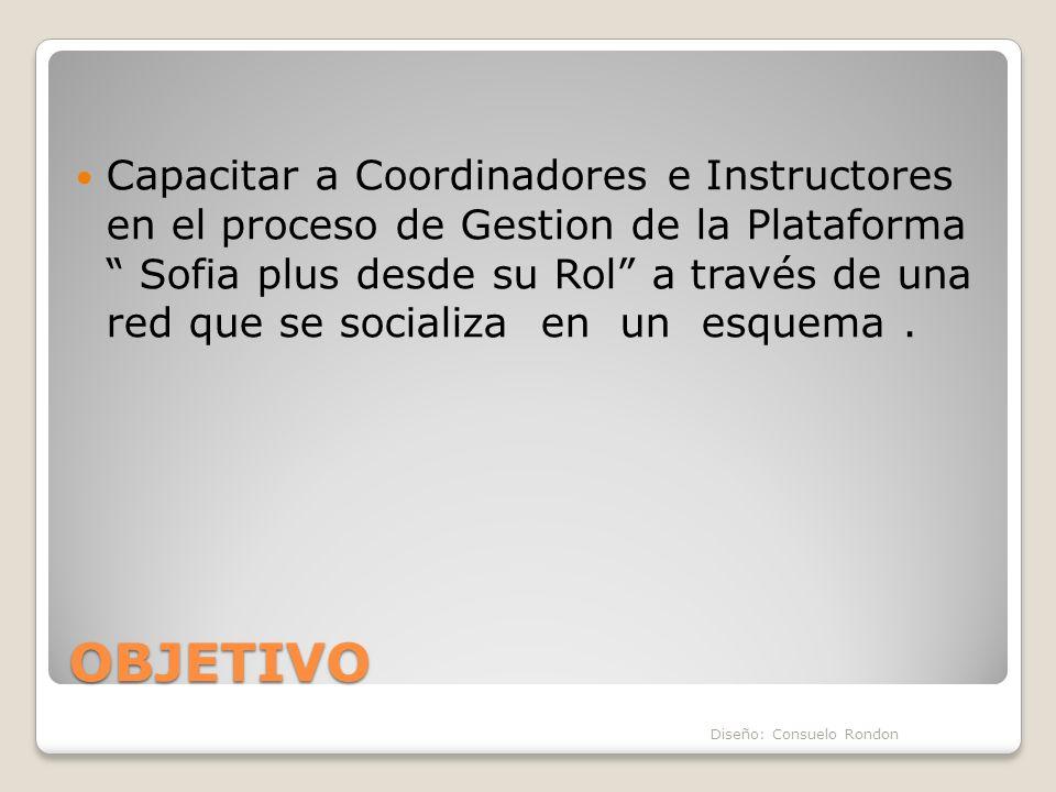 Capacitar a Coordinadores e Instructores en el proceso de Gestion de la Plataforma Sofia plus desde su Rol a través de una red que se socializa en un esquema .
