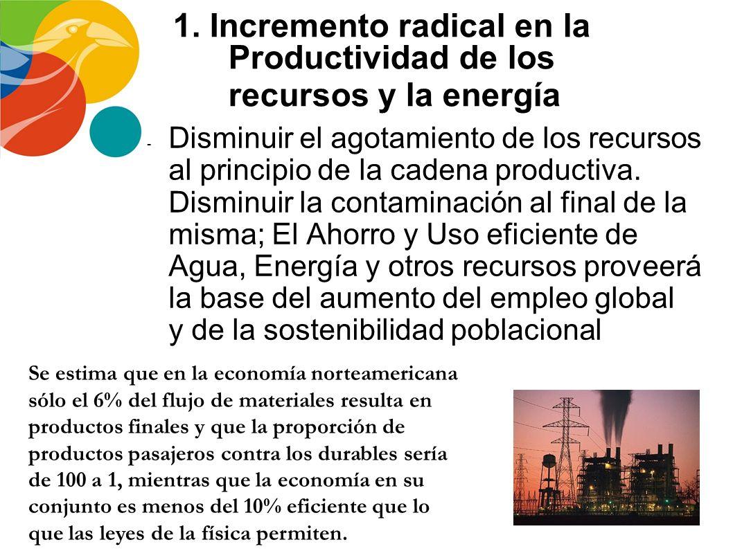 1. Incremento radical en la Productividad de los recursos y la energía