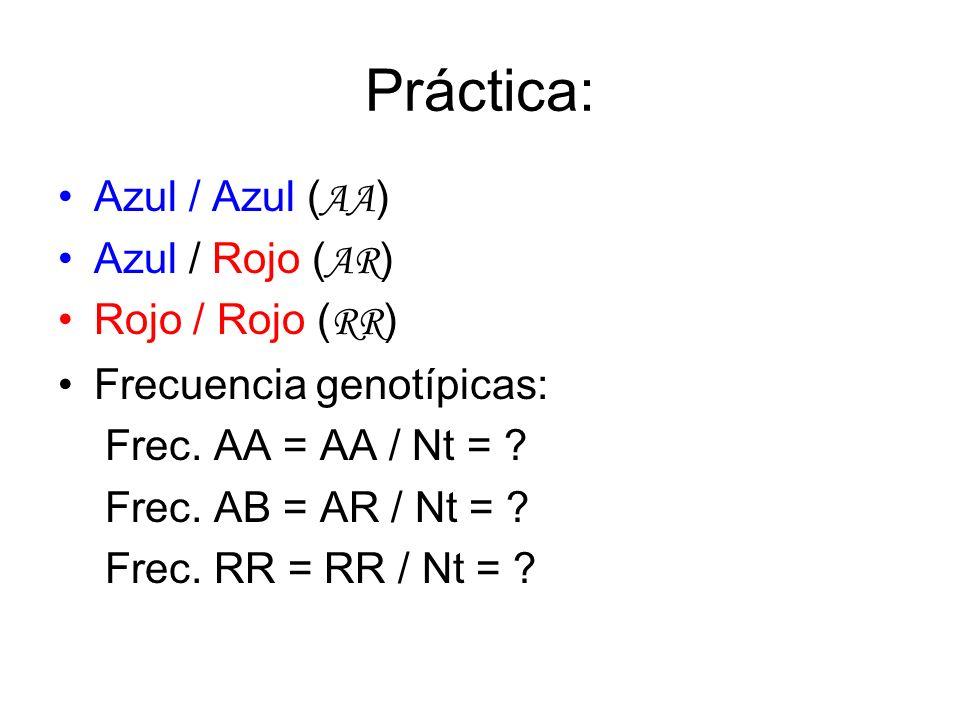 Práctica: Azul / Azul (AA) Azul / Rojo (AR) Rojo / Rojo (RR)