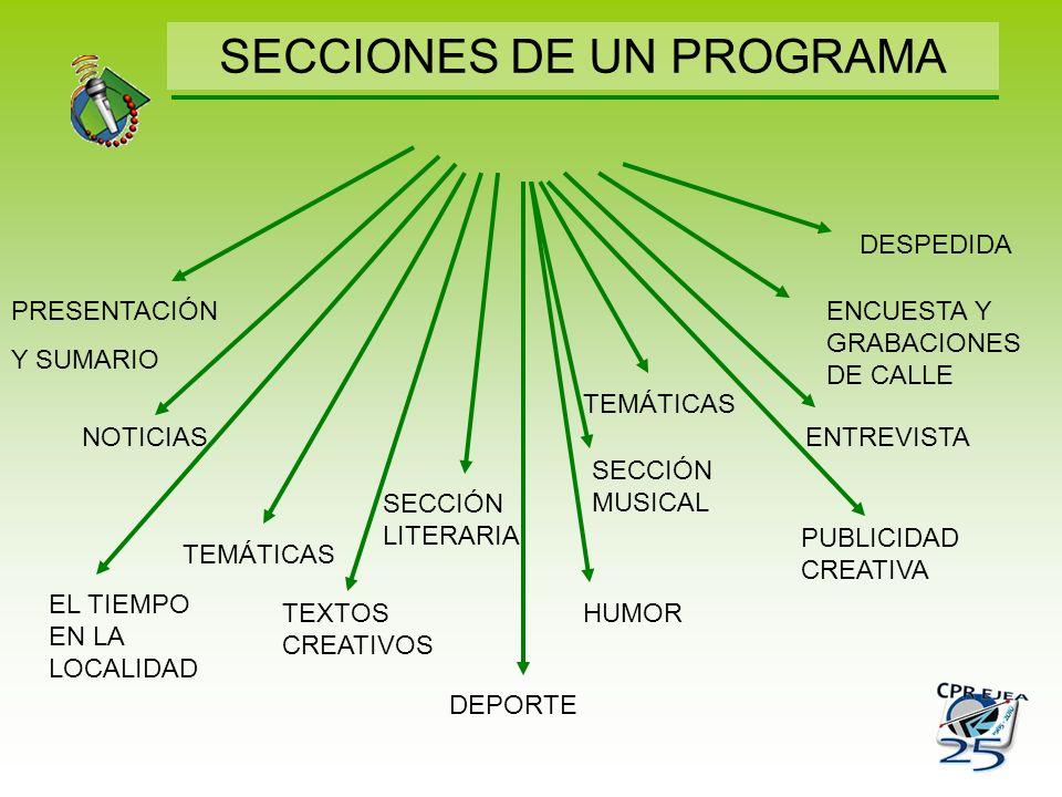 SECCIONES DE UN PROGRAMA