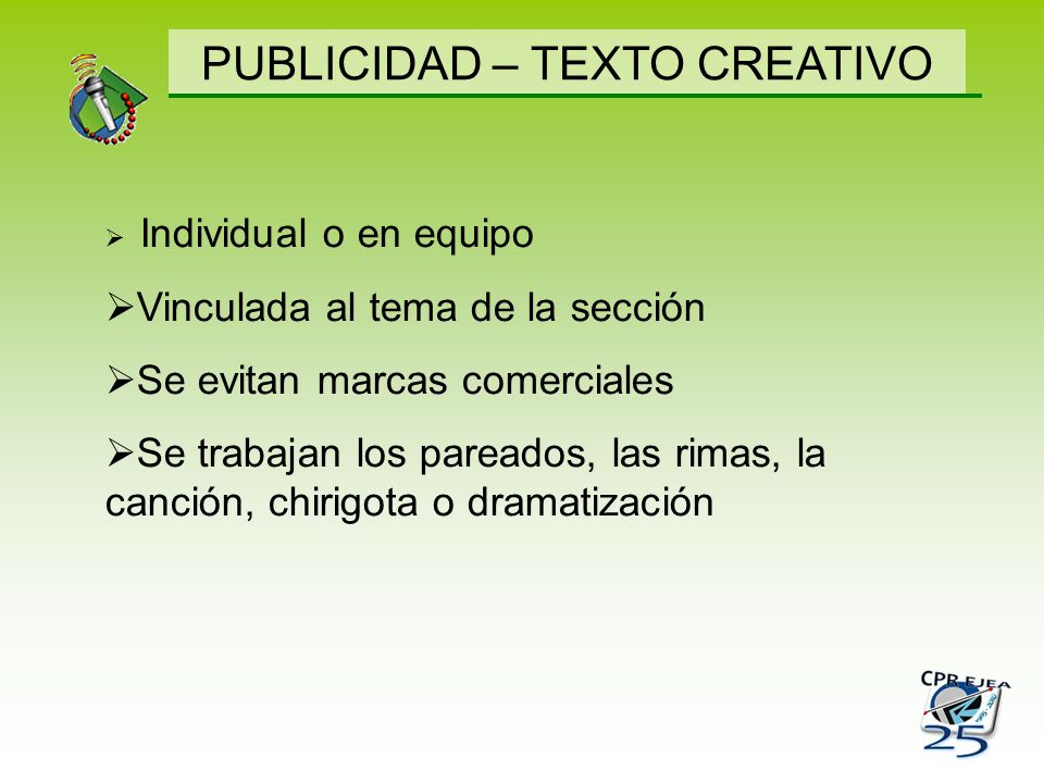PUBLICIDAD – TEXTO CREATIVO