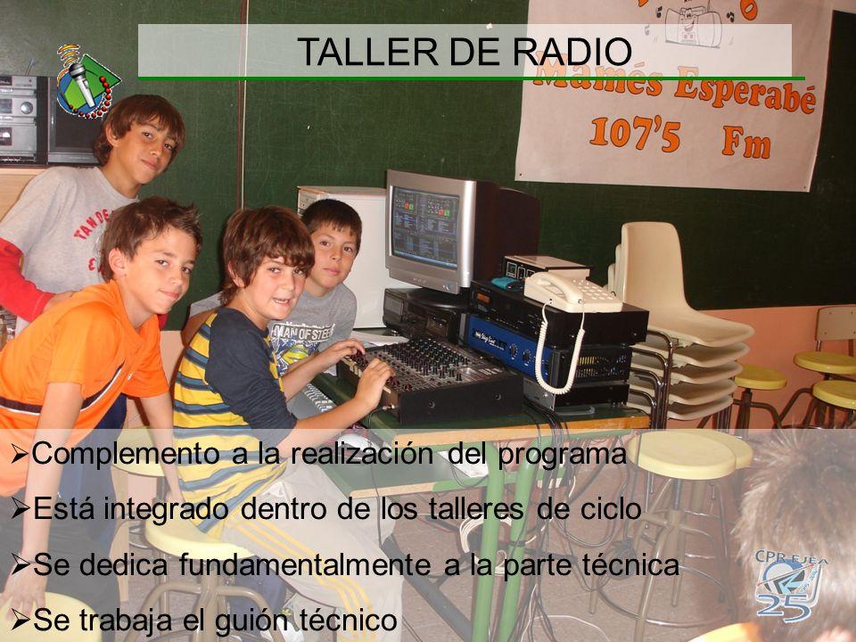 TALLER DE RADIO Está integrado dentro de los talleres de ciclo