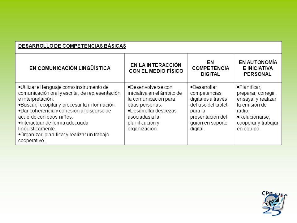 DESARROLLO DE COMPETENCIAS BÁSICAS EN COMUNICACIÓN LINGÜÍSTICA