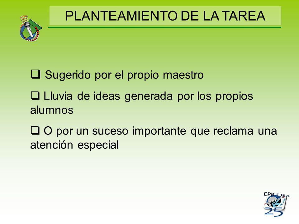PLANTEAMIENTO DE LA TAREA
