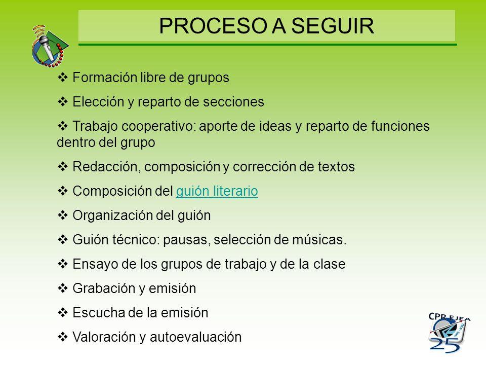 PROCESO A SEGUIR Formación libre de grupos