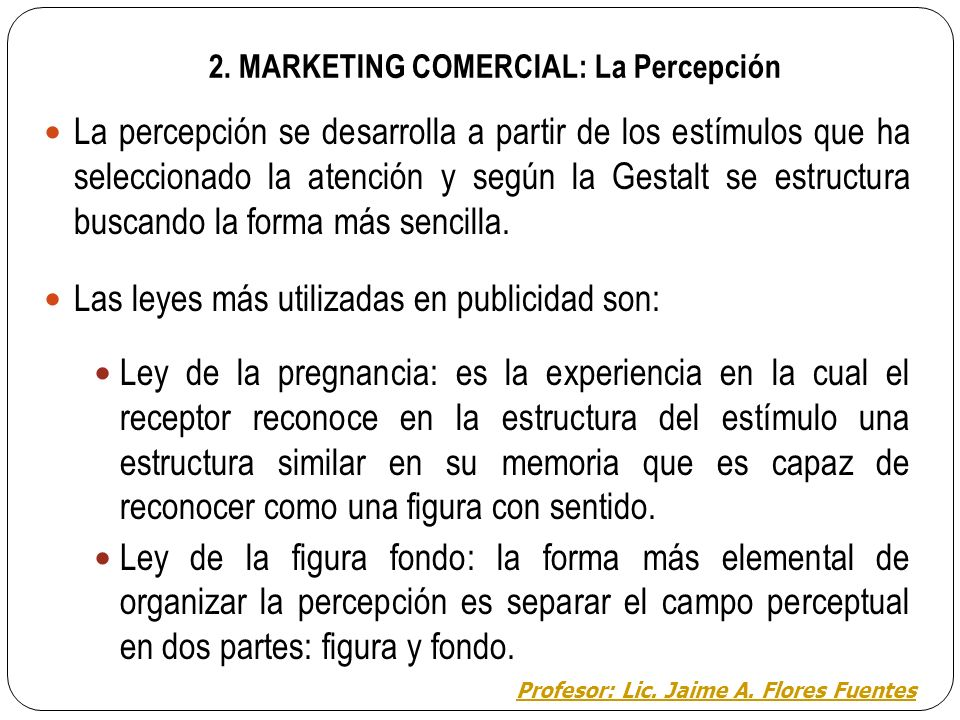 2. MARKETING COMERCIAL: La Percepción