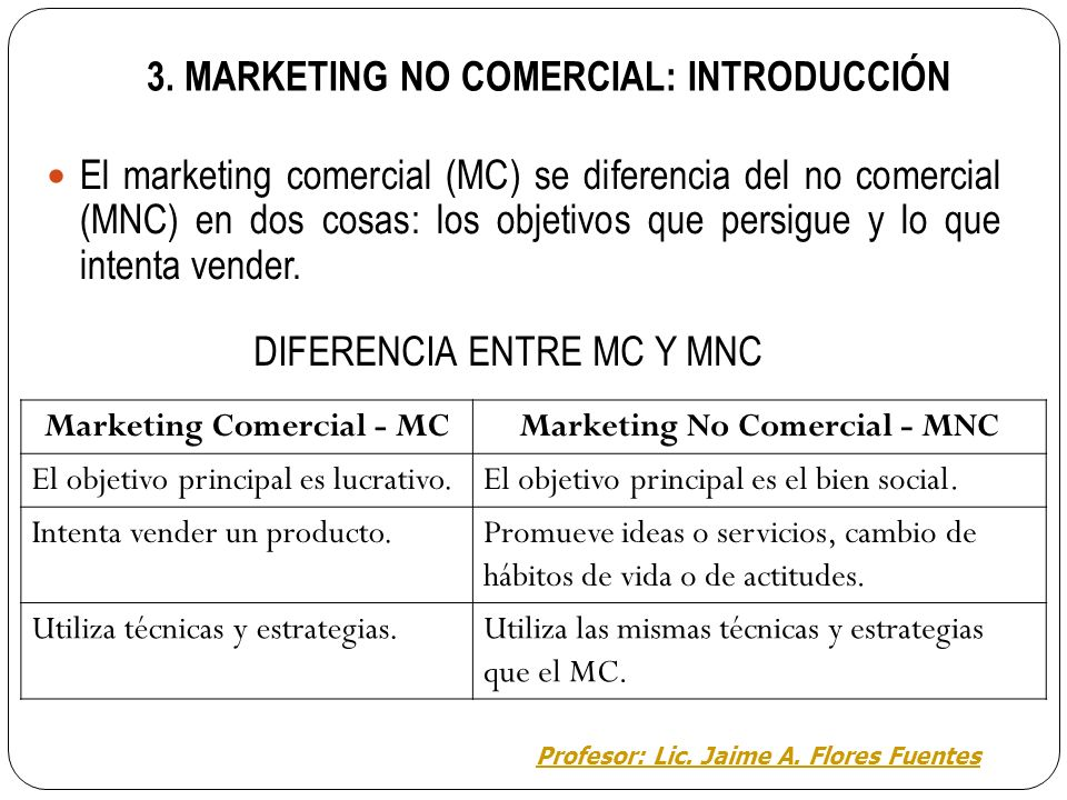 3. MARKETING NO COMERCIAL: INTRODUCCIÓN
