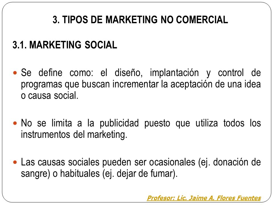 3. TIPOS DE MARKETING NO COMERCIAL