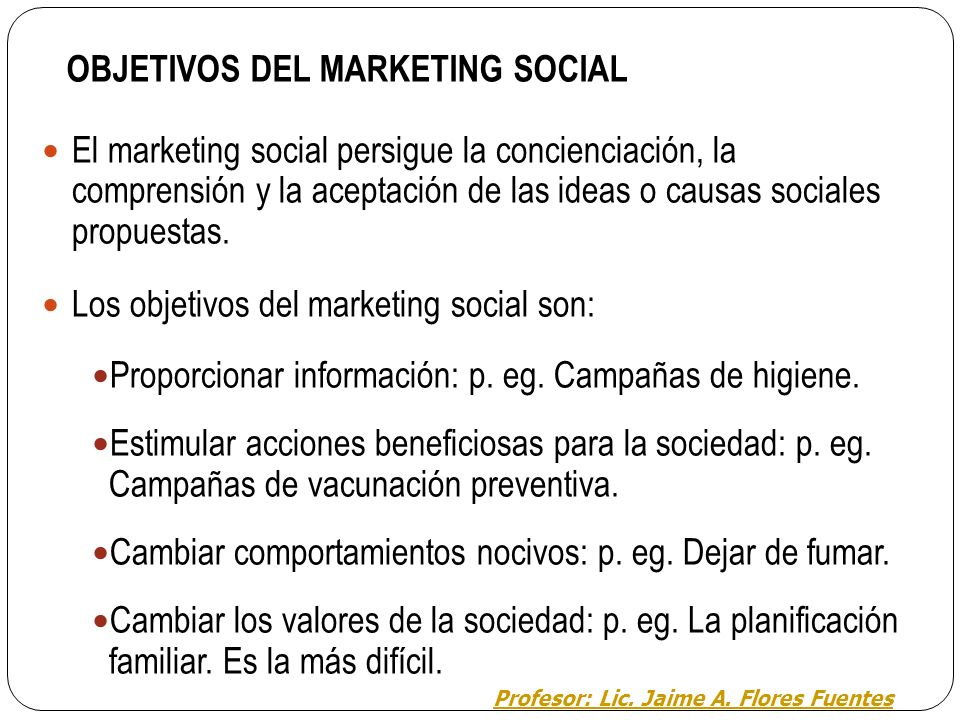 OBJETIVOS DEL MARKETING SOCIAL