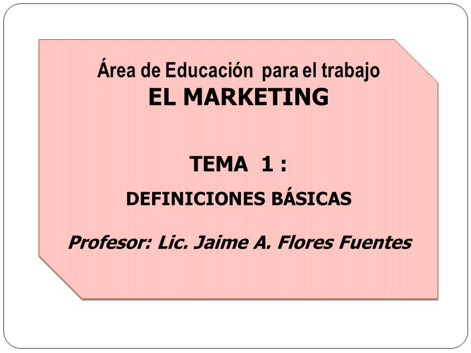 EL MARKETING Área de Educación para el trabajo TEMA 1 :