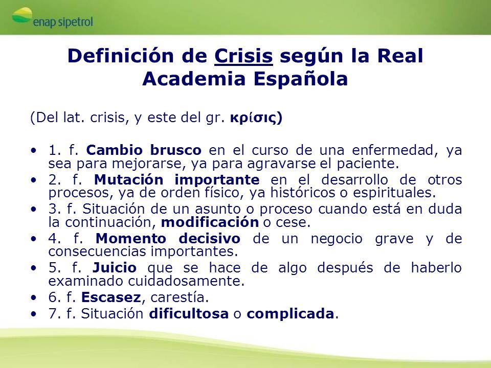 Definición de Crisis según la Real Academia Española